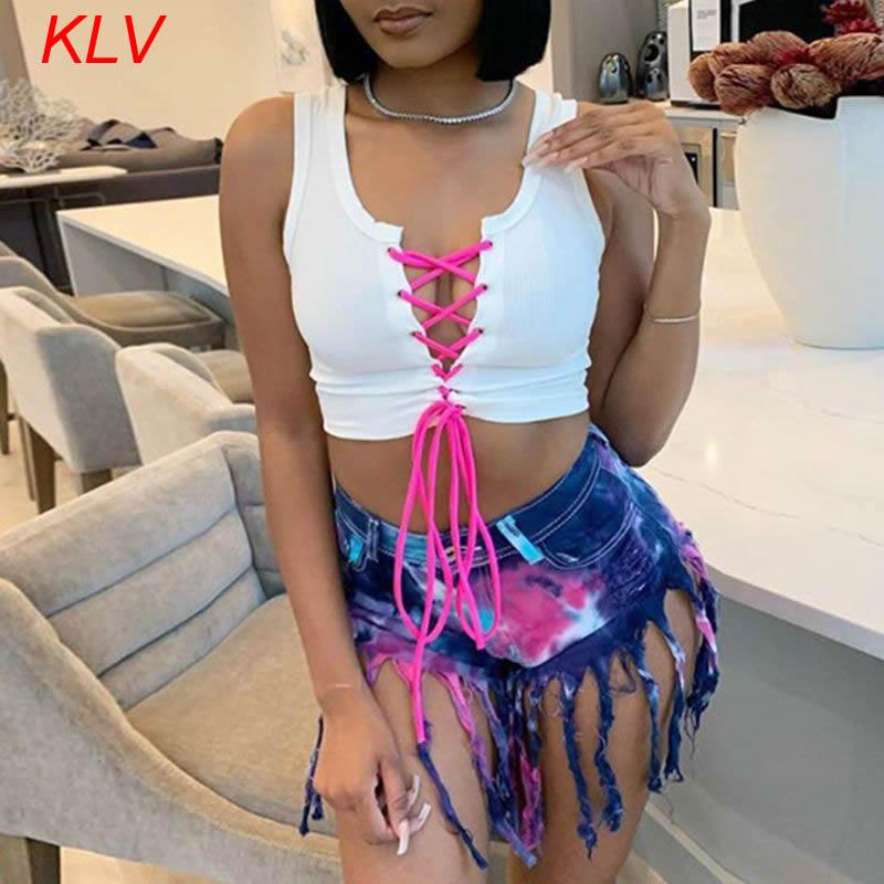 Top Sexy de verano para mujer, con agujeros, con ojal y encaje, estilo vendaje frontal, ropa de calle acanalada con bloques de Color