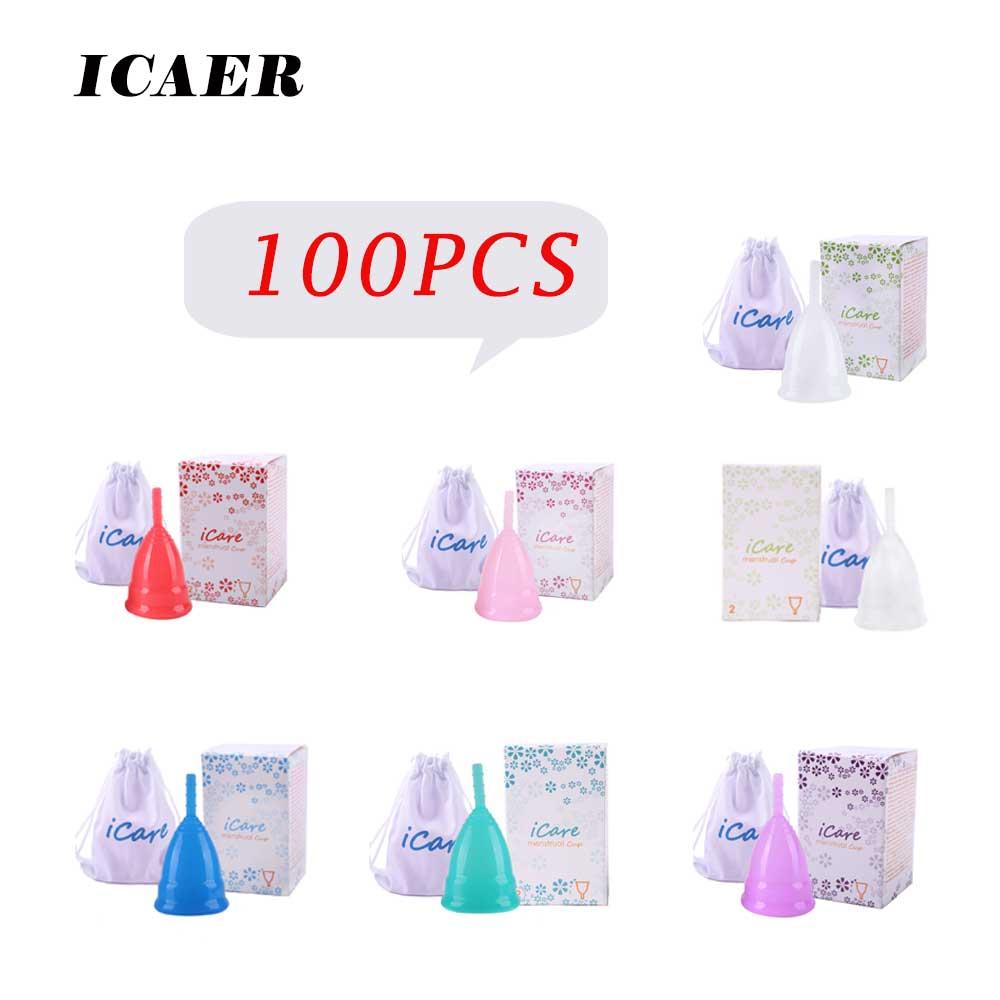 VIP 100 قطعة لطيف بالجملة قابلة لإعادة الاستخدام اكواب امتصاص الطمث الطبية المؤنث النظافة المنتج سيدة الحيض Copo BMC01PK