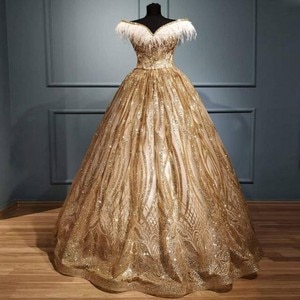 Charming Feather Off The Shoulder Prom Dresses Gold Sequined Lace A Line Evening Gowns Saudi Arabia Robe De Soiree Vestidos