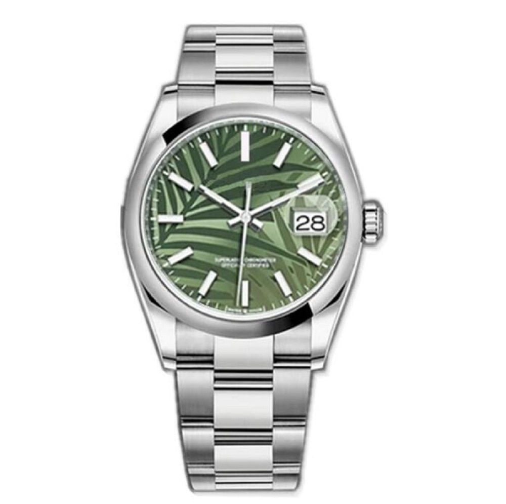 Smooth Bezel Datejust Green Dial Steel Mens 36mm Sapphire Glass Watch Automatic Mechanical Stainless Oyster Perpetual Turquoise