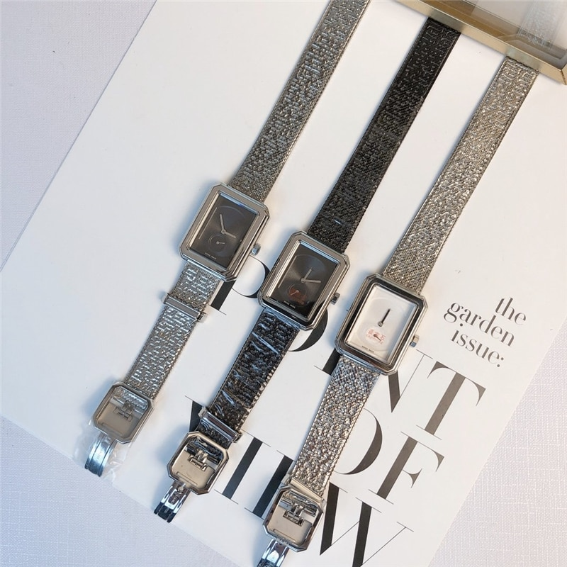 luxury brand C quartz watches 316L stainless case Soft metal belt watches for woman with brand logo enlarge