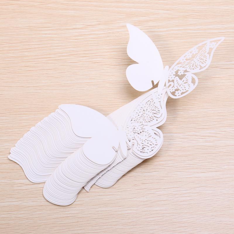 Mariposa cortada con láser en el lugar de cristal tarjetas de boda cumpleaños bautismo fiesta tarjetas de lugar tarjetas de nombre colgante de cristal para copa de vino