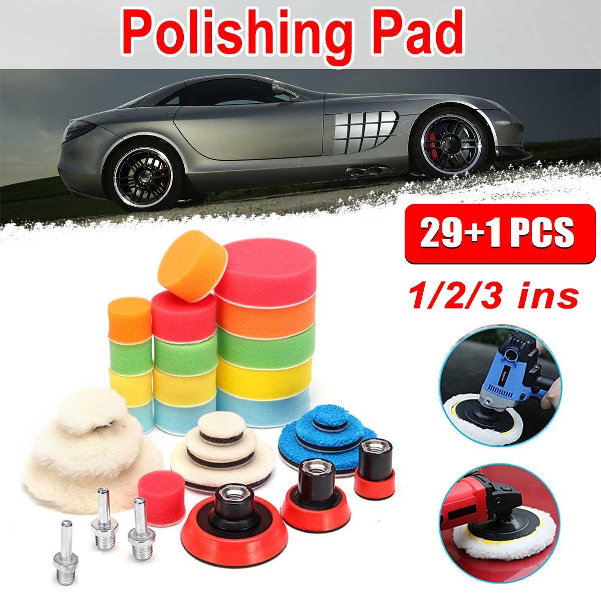 29Pcs Buffing Pad Set with M14 Thread 1-3 inch Auto Car Polishing Pad Kit for Car Polisher + Drill Adaptor M14 Power Tools Acc