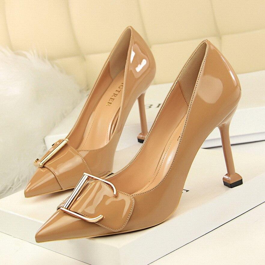 Zapatos De tacón alto De charol para Mujer, con punta puntiaguda y...