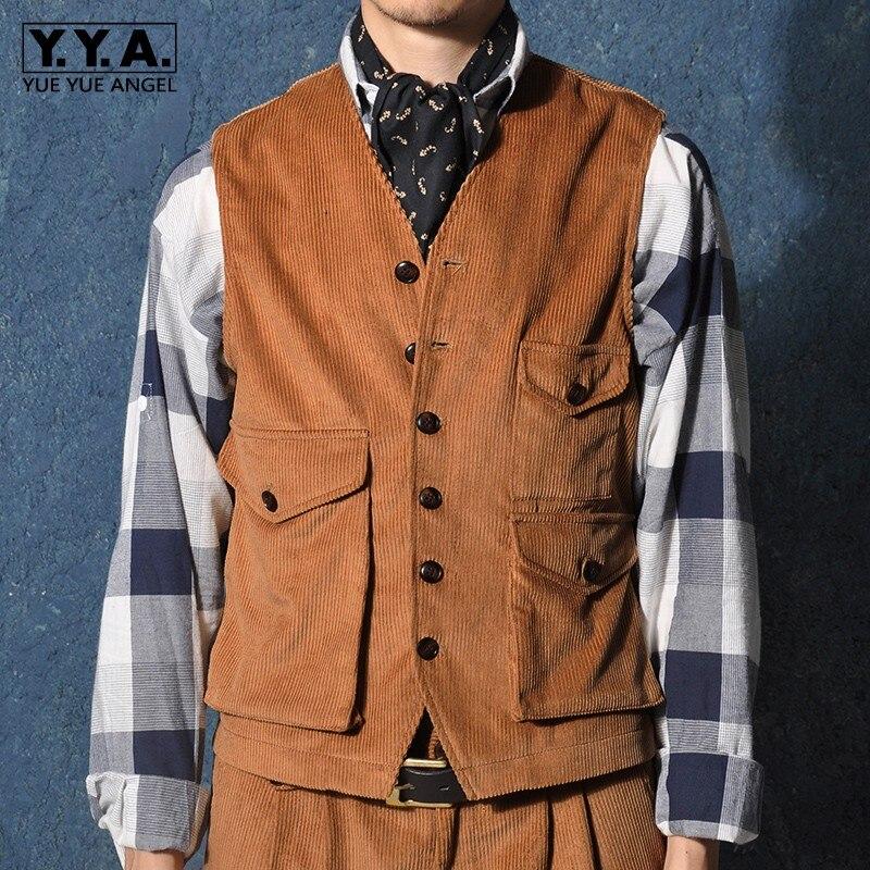 Harajuku, para hombre, chaqueta sin mangas de carga con bolsillos de un solo pecho, Chaleco Corto Vintage de pana, ropa de abrigo, Tops, chalecos masculinos