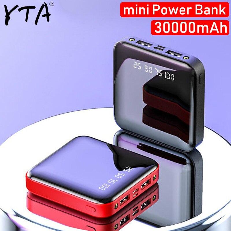 Mini banco de energía 30000mAh para iPhone X Xiaomi Mi banco de energía Pover Banco cargador Dual Usb puertos batería externa Poverbank portátil