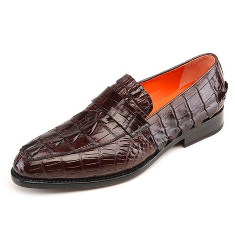 Meixigelei-أحذية من جلد التمساح للرجال ، أحذية عصرية للرجال ، أوقات الفراغ ، أحذية شبابية مستديرة الرأس