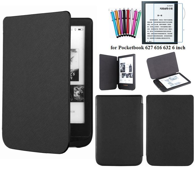 Funda delgada de moda GLIGLE para Pocketbook 627 616 632 funda para PocketBook Touch Lux 4/Basic Lux 2 + stylus + película de pantalla