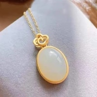 natural hetian jade egg surface pendant womens a little retro necklace palace style simple new chinese style chinese style