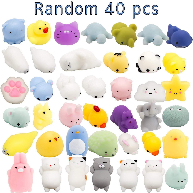 40 Pc Mochi jouets spongieux Mochi Kawaii jouets squishies cadeaux pour les faveurs de fête pour les enfants, Mini souper mignon animaux soulagement du Stress jouet
