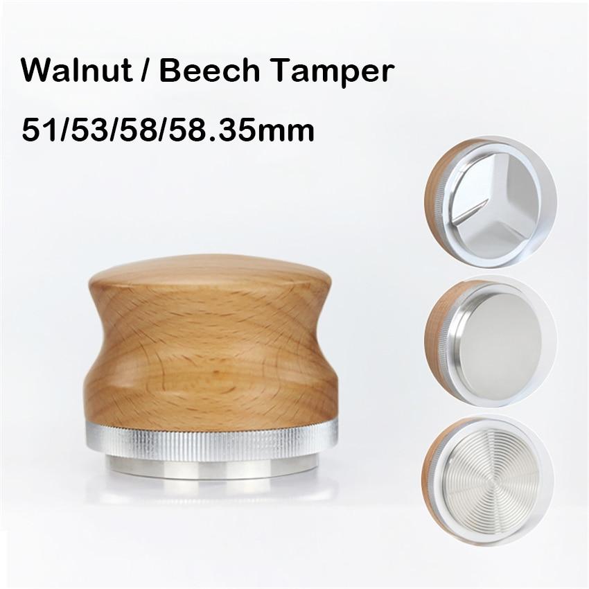 AliExpress - 51/53/58/58.35mm Coffee Tamper Adjustable Fan/Flat Base Walnut Wood Handle Espresso Powder Hammer Coffee Accessories Barista