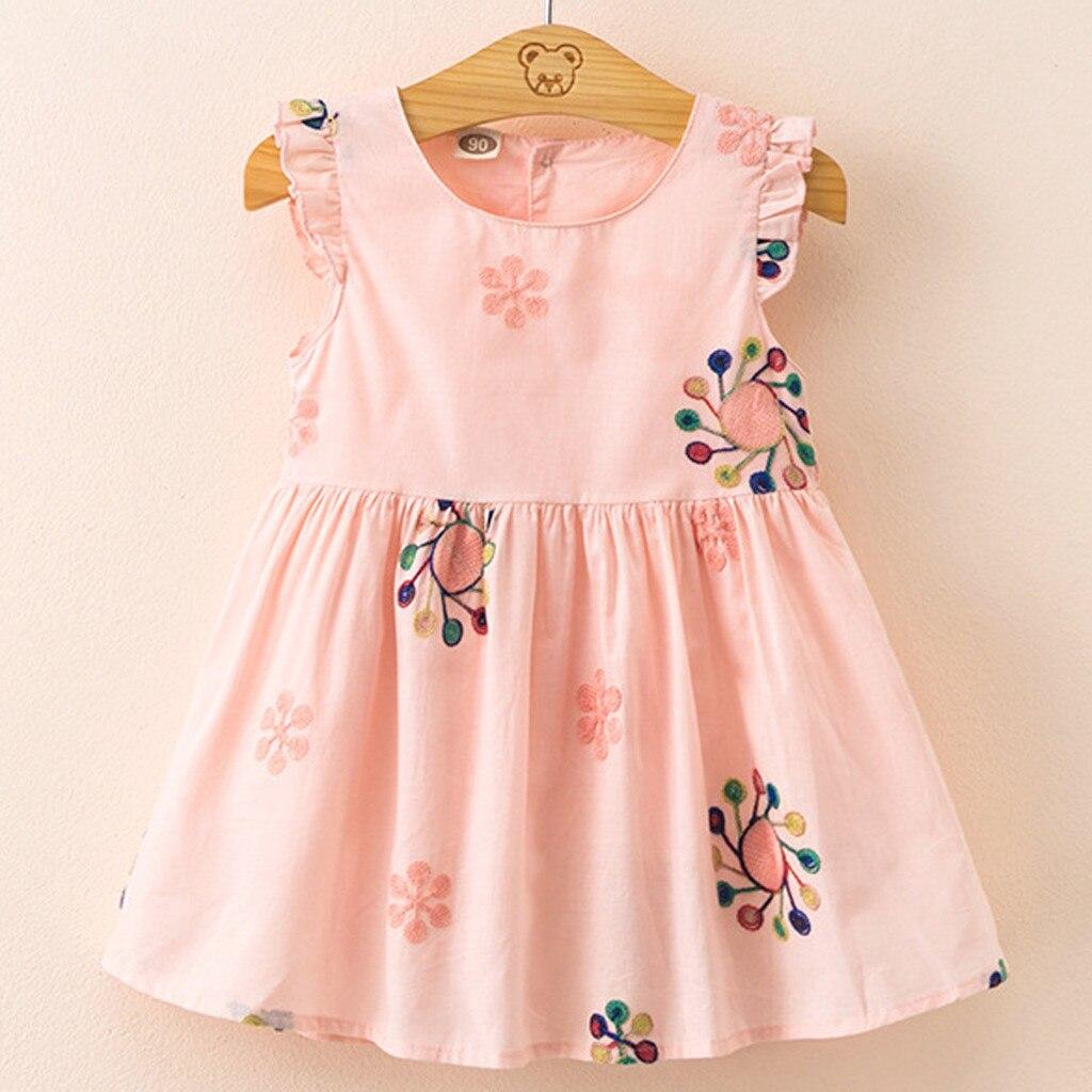 Детское платье с вышивкой для маленьких девочек сарафан Летняя детская одежда из 2019 хлопка платье принцессы W902