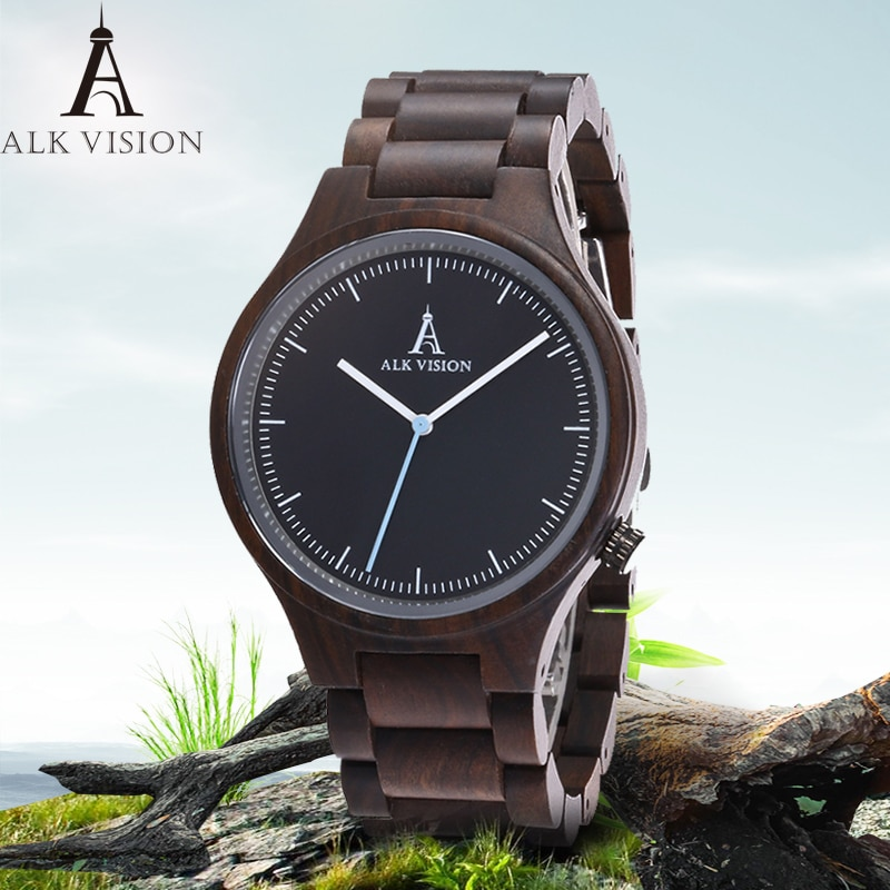 ALK Vision Mens Wood Watch Black Women Watches Couples Clock Real Wooden Watches Natural Wood Men Watch Top Brand Men wristwatch fashion eco friendly red sandal wood health watches uwood brand wooden watch japan quartz wristwatch for mens women lover best g
