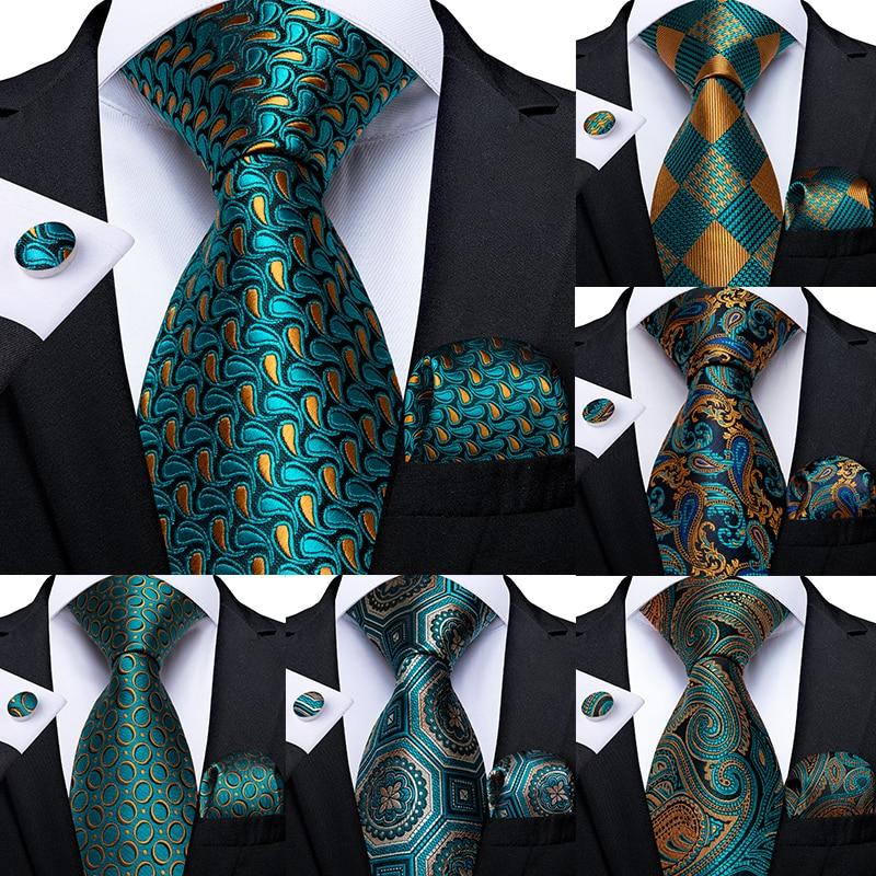 Corbata verde azulado a rayas de Cachemira para hombres, corbata de boda de Diseño novedoso de seda para hombres, gemelos hechos a mano, conjunto de corbata de regalo para fiesta de negocios DiBanGu