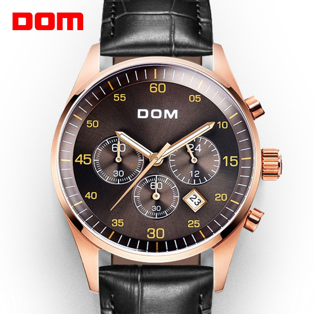 DOM الراقية الرياضة والترفيه نمط متعدد الوظائف ساعة رجالي مقاوم للماء التقويم ساعة توقيت كرونوغراف M-540