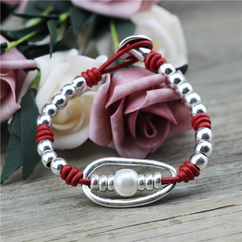 Anslow Großhandel Vintage Einzigartige Design Charms Handmade DIY Perlen Leder Bogen Geflochtene Männlich Weiblich Armbänder Schmuck LOW0809LB