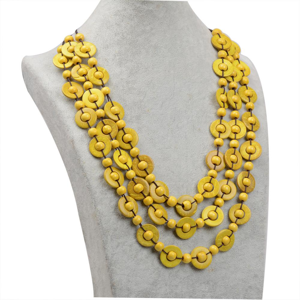 New fashion boho multi-layer beaded shape coconut shell necklace women's beach vacation products