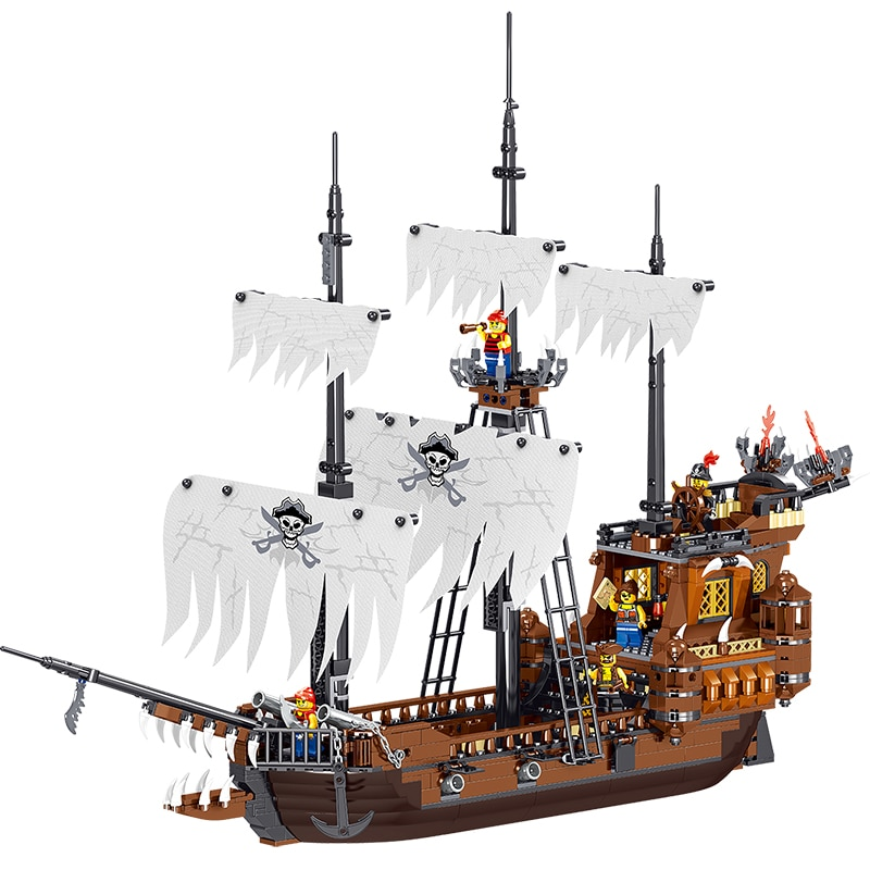 1171pcs Pirates of the Caribbean The White Wanderer Ship  Building Blocks lepining Movie Bricks Kids Toy Gift Children