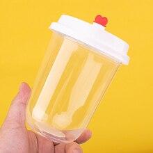 50 sztuk przezroczyste w kształcie litery U śliczne jednorazowe zimny napój filiżanka do mleka i herbaty party urodziny favor kreatywny napojów plastikowy kubek z pokrywką