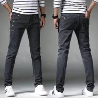 mens jeans trend straight barrel jeans mens moto jeans slim fit straight denim pants distressed trousers winter denim pants