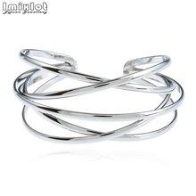 Pulseiras & pulseiras de punho largo oco para mulher ouro cor prata vintage liga aberto pulseira moda jóias