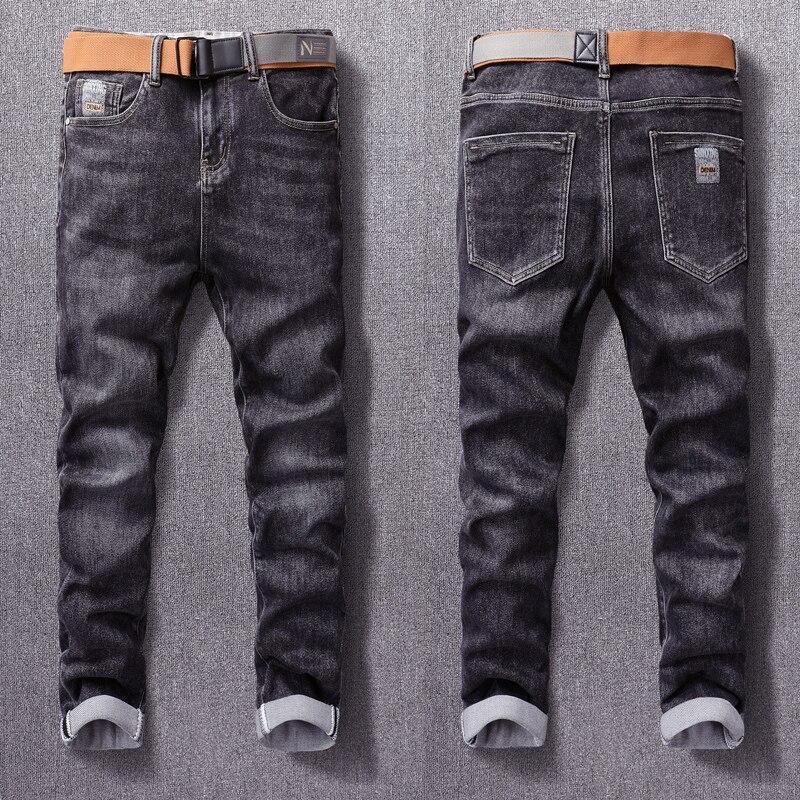Европейские винтажные модные мужские джинсы высокого качества Ретро Черные Серые эластичные дизайнерские узкие джинсы мужские повседневн...