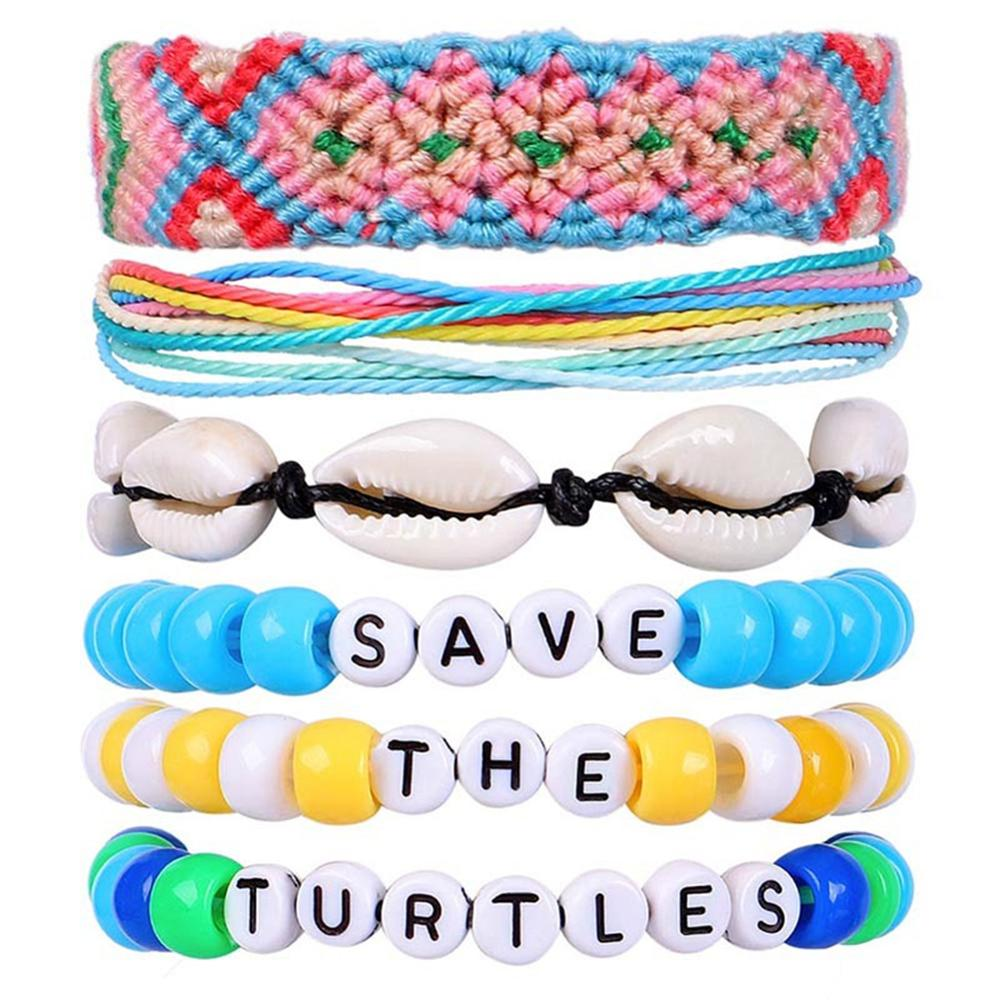 Waterproof Vsco Bracelets Natural Shell Bracelet for Girls Woven Friendship  Beads Set Save The Turtles Good Vibes Peachy