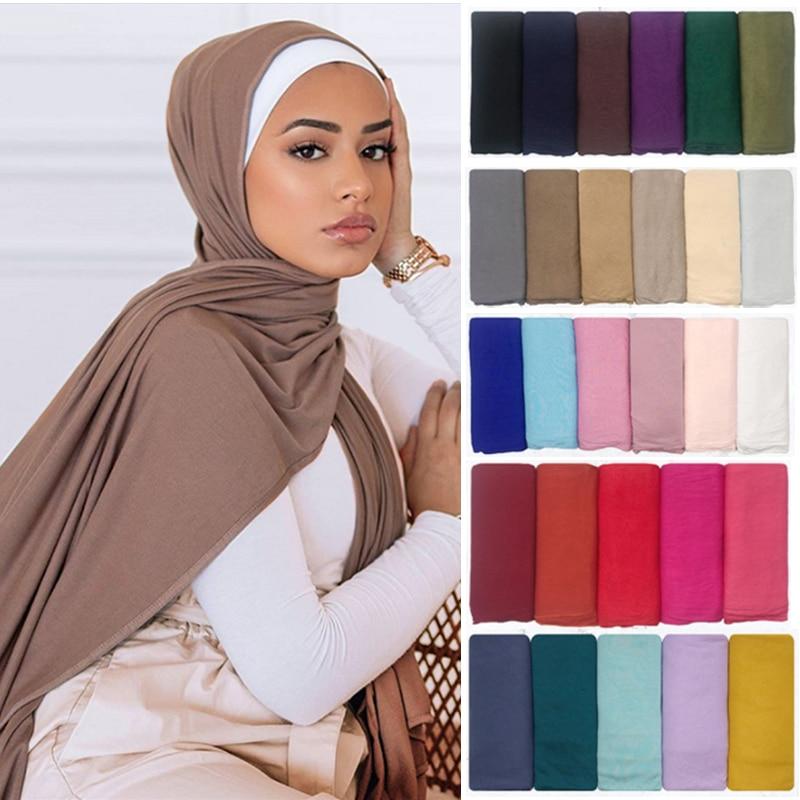 Fashion Modal Cotton Jersey Hijab Scarf Women Muslim Shawl Plain Soft Turban Head Wraps Islamic Afri