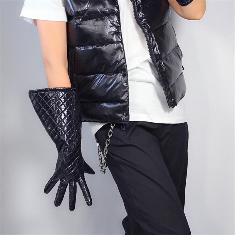 Guantes térmica larga de 38cm de manga larga, mangas abullonadas anchas, Chaqueta brillante de abajo, tela más terciopelo negro, guantes de mujer para hombre, WPU200-38W