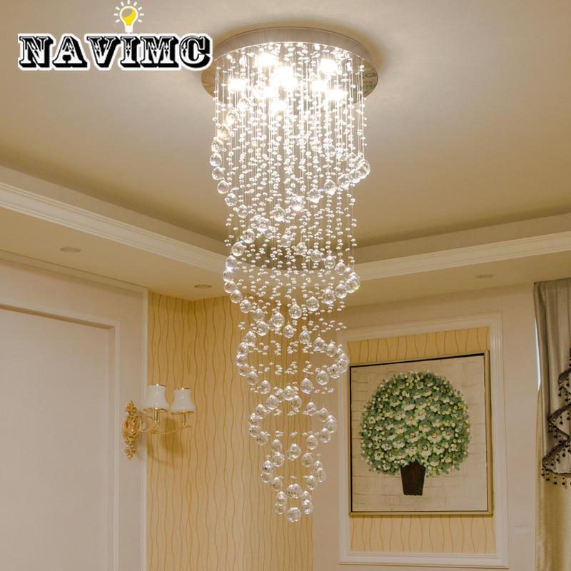 Moderno led lustres de cristal luminária para escada luzes da escada luxo hotel villa vaidade quarto pendurado lâmpada