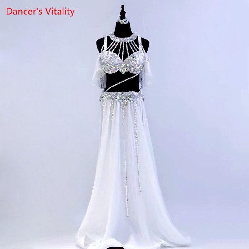 بدلة الرقص الشرقي للنساء ، حمالة صدر مرصعة بالماس ، تنورة طويلة ، ملابس أداء ، ملابس مسابقة احترافية راقية