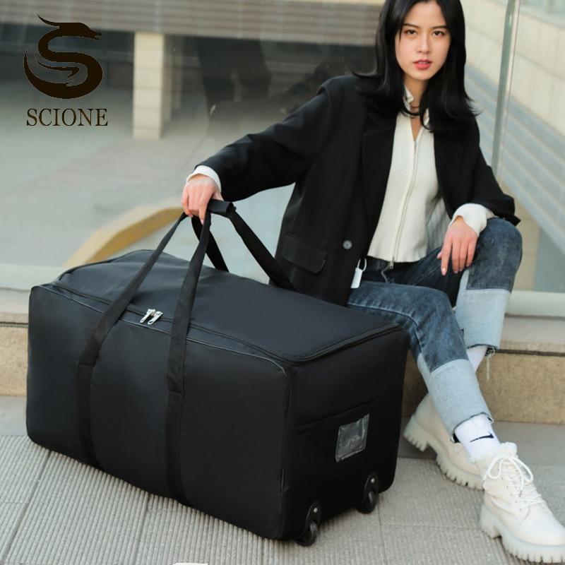 للجنسين سعة كبيرة حقيبة سفر للأمتعة حقائب على عجلات المحمولة تتحرك حقيبة تخزين حزمة أسود أكسفورد حقائب 2021 جديد XA275M