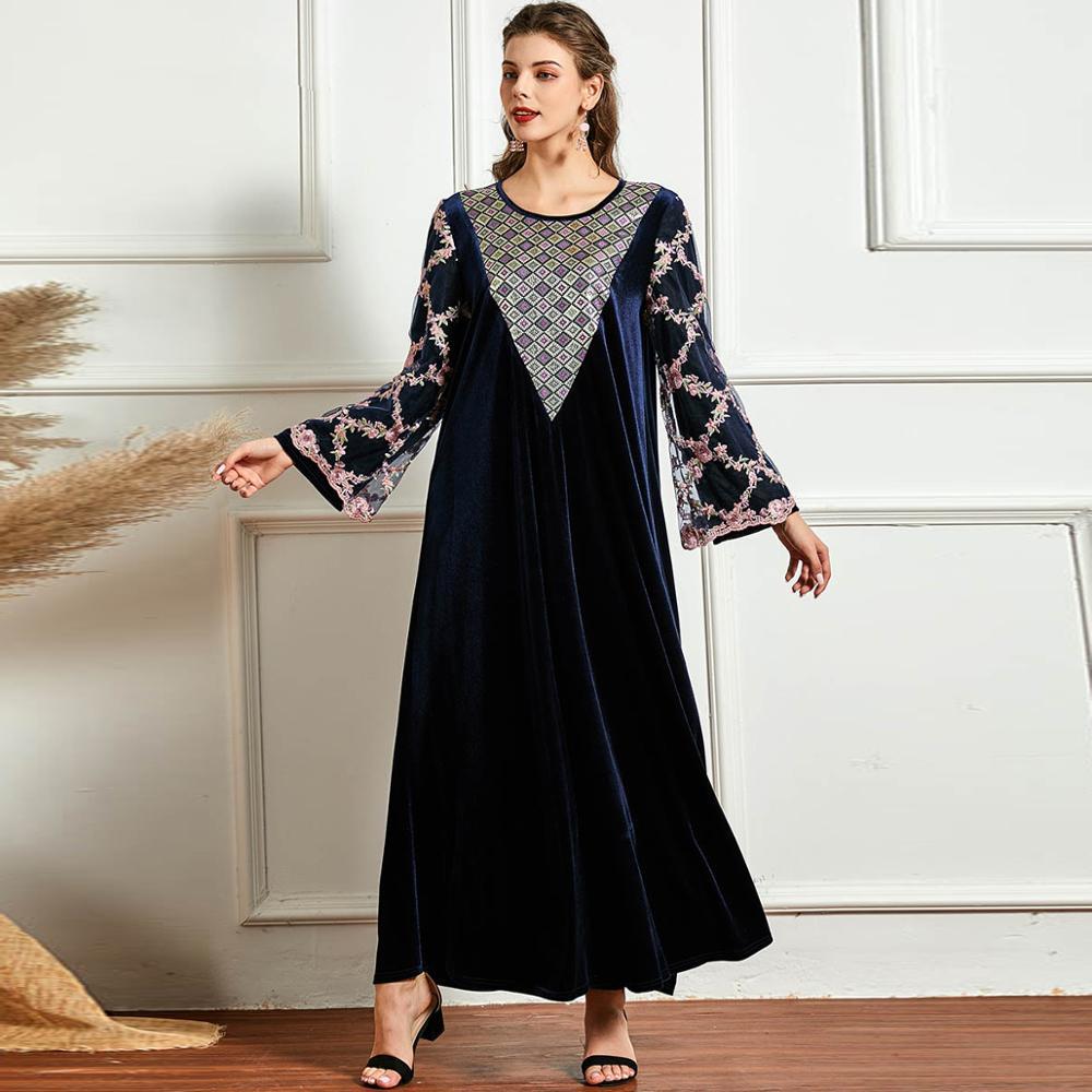Winter Women Long Dress Loose Velvet Plus Size 4XL Floral Embroidery Mesh Full Sleeve Muslim Abaya Caftan Casual Turkey Modesty