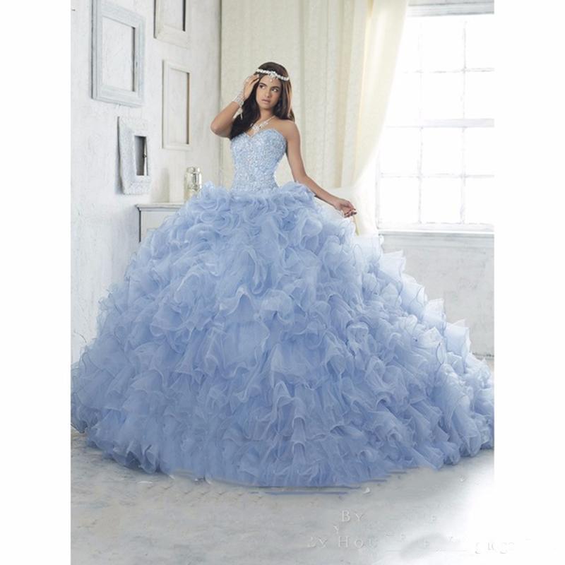 Bling Bling Blue Ball Gown Quinceanera Dresses 2019 Ruffles Beaded Organza Prom Dress Debutante Gowns Cheap Sweet 16 Dresses