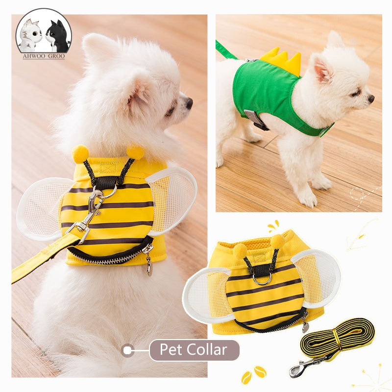 Cute Bee forma de perro de mascota conjunto de Correa y arnés Collar ajustable para perros y gatos con pequeña bolsa arnés para disfraz chaleco para perros medianos y pequeños