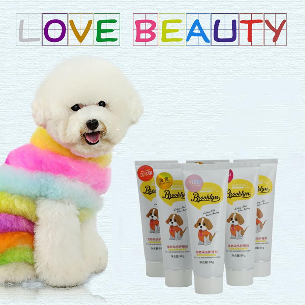 80g Pet Dog Cats Animals Hair Bright Coloring Dyestuffs Dyeing Pigment Agent Supplies Hair Coloring