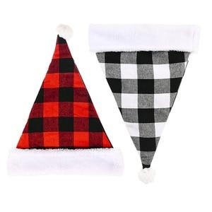 12 Pcs Santa Claus Christmas Hats Red Black Plaid Xmas Cap Short Plush with White Cuffs Fabric Noel Hat Decoration Wholesale X2