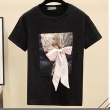E fille graphique t-shirts femmes t-shirts col rond à manches courtes coton style coréen T-shirt Vogue décontracté hauts T-shirt été Veteme