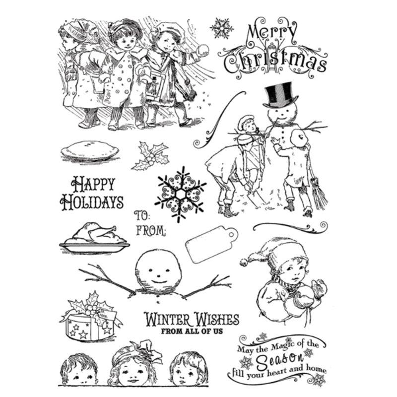 Merry Christmas Cartoon Silicone Seal Stamp DIY Scrapbooking Photo Album Decor