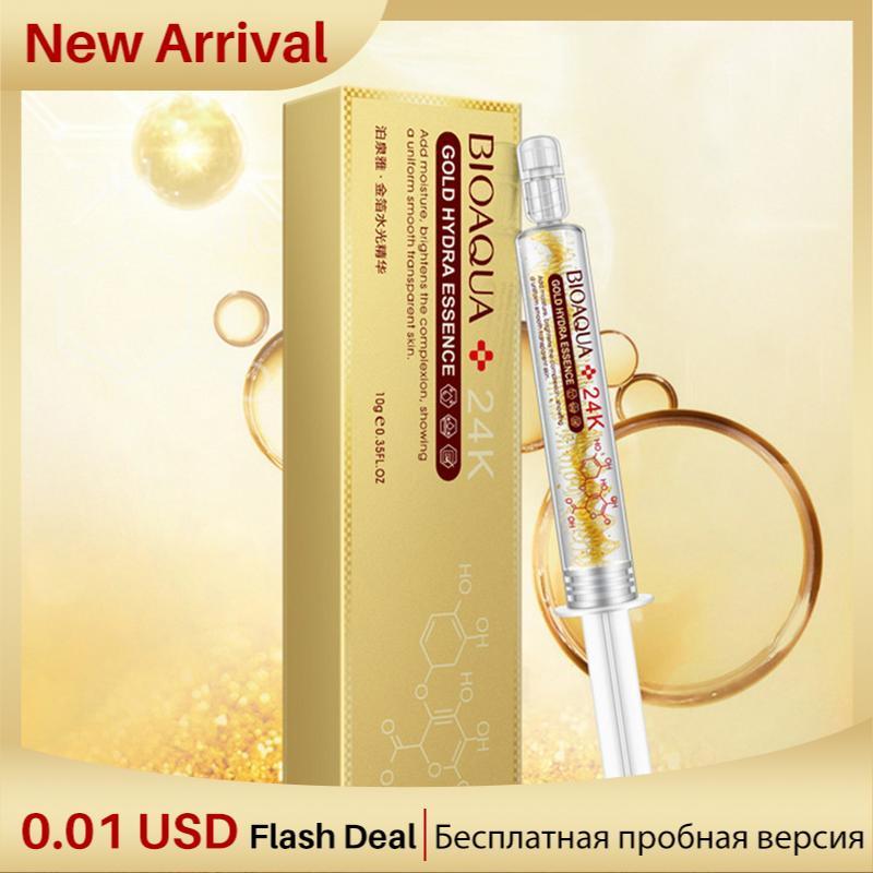 BIOAQUA Anti-Aging Moisturizing Whitening Essence 24K Gold Foil Water Light Needle Essence Hyaluronic Acid Injection Face Serum