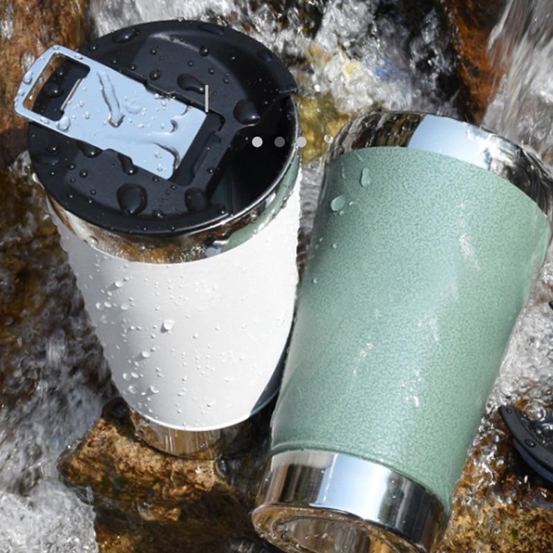 كوب للبيرة بهلوان أكواب مزدوجة طبقة مكنسة من الفولاذ المقاوم للصدأ القهوة القدح كوب ماء معزول مانعة للتسرب بهلوان مع الأغطية المفتاح