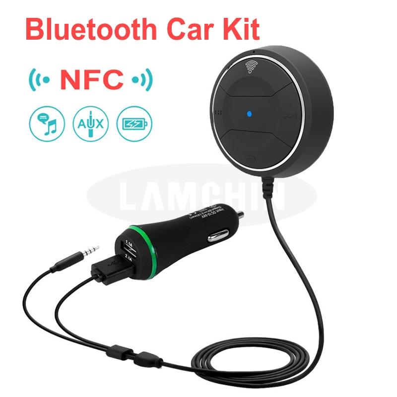 Kit de manos libres de cargador de coche inalámbrico Bluetooth 4,0 receptor de música estéreo con entrada auxiliar de 3,5 MM Jack rápido NFC Dual cargador USB