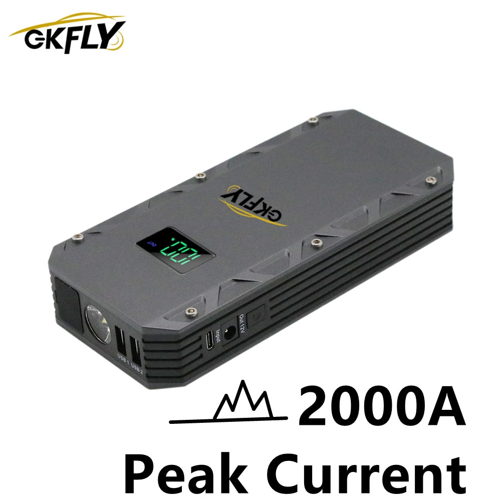 gkfly 2000a car jump starter 24000mah portable car starting device power bank petrol diesel car charger for car battery booster High Power 2000A Starting Device Cable 12V Booster Car Jump Starter Portable Power Bank Car Starter For Battery Charger Reboot