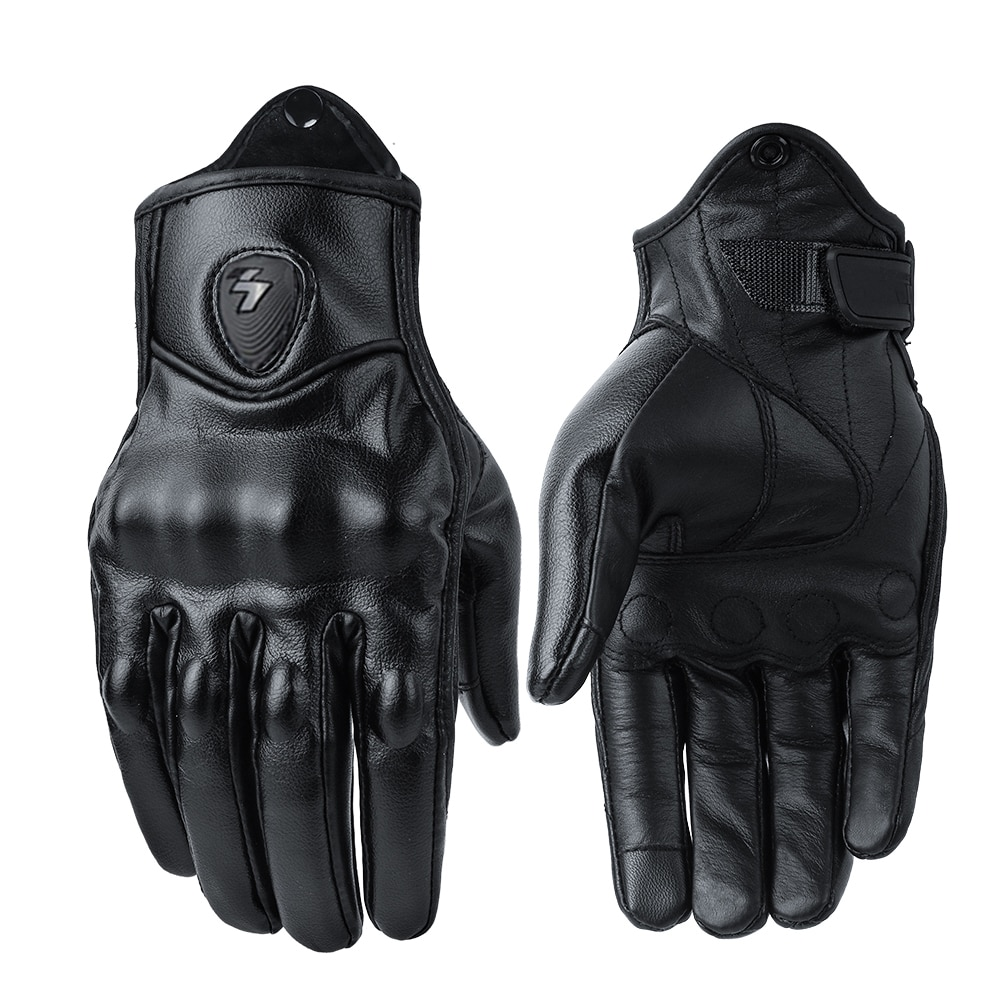 Motorcycle Protective Gears Motocross Winter Warm Perforated Real Leather Guantes Moto Windproof Men Women Gloves
