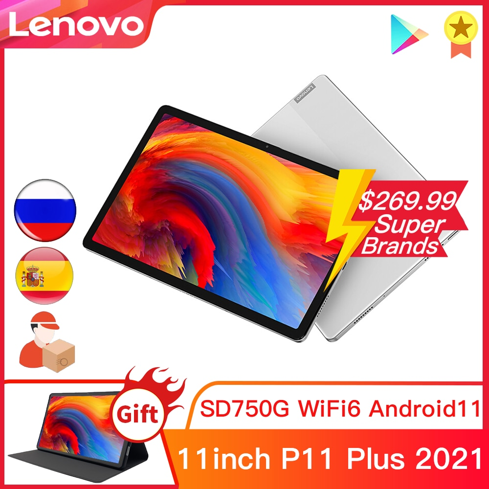 Планшетный ПК Lenovo Xiaoxin Pad P11 Plus, 2021 дюйма, телефон с идентификацией света, Snapdragon 750G, 6 ГБ ОЗУ, 128 Гб ПЗУ, планшеты 11 дюймов на базе Android 11