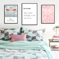 Peinture a lhuile en toile de cygne rose  decoration de salon  Simple  vent doux  peinture dart de paysage  decoration de maison  cadres muraux