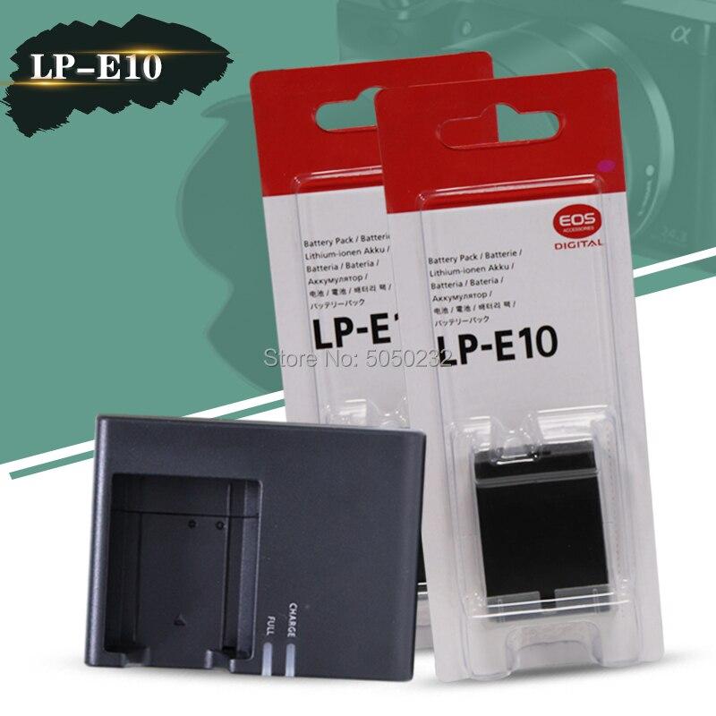 2 uds 7,4 V 860mAh LP-E10 LP E10 LPE10 batería de la cámara para Canon EOS 1100D 1200D 1300D + cargador de LC-E10C de la cámara Digital