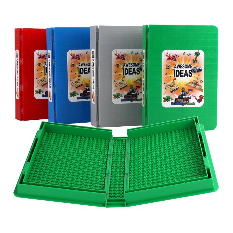 Caja de bloques de construcción de placa inferior multicapa en 4 colores, estilo de libro, caja de almacenamiento de bloques de construcción, modelo de Juguetes de bloques de construcción para regalo