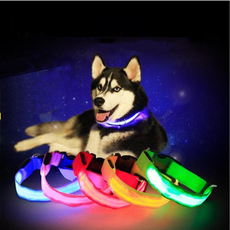 USB Charging Adjustable Pet Dog Collar LED Rechargeable Night Flashing Luminous Dog Collars Plastic  Neck Collar for Dogs pet
