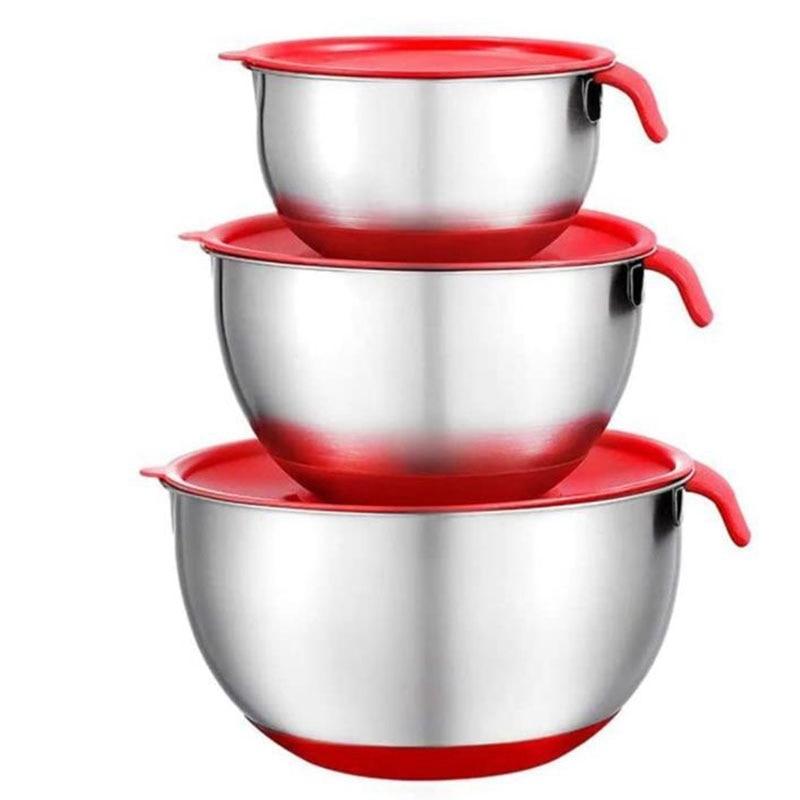 الفولاذ المقاوم للصدأ أوعية الخلط طبق للسلطة وعاء تقديم عدم الانزلاق والتكديس مع أغطية محكمة لخبز المطبخ الطبخ